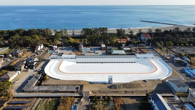 Aerial view of PerfectSwell® Shizunami under final construction. Photo: Surf Stadium Japan.
