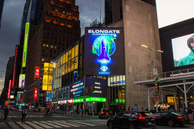 The ELONGATE emblem as seen in New York. Born out of the cryptocurrency space, Elongate's ever expanding community has rallied on to support the charitable movement.
