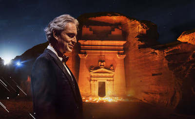Andrea Bocelli, The world's most beloved Italian opera tenor is giving a world-first performance in the UNESCO World Heritage Site of Hegra, in AlUla of Saudi Arabia, on April 8th 2021. The concert will be broadcast live and free on Andrea Bocelli's YouTube channel on April 8th at 19:00 BST.