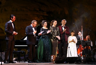 The world's most beloved tenor, Maestro Andrea Bocelli, gave a stunning performance within the surrounds of the UNESCO World Heritage Site, Hegra last night. The concert was also the first time Andrea has shared the stage with both his son Matteo and his 9 year old daughter Virginia. Performers included (Left to right) Matteo Bocelli, Eugene Kohn, Francesca Maionchi, Loren Allred, Andrea Bocelli and Virginia Bocelli.
