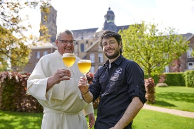 Pictured celebrating the opening of the new Grimbergen Abbey Brewery are Provisor and Abbey Brewer, Father Karel Stautemas and Master Brewer, Marc-Antoine Sochon