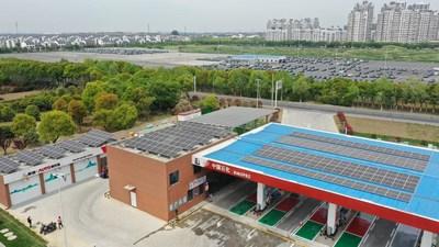 Sinopec construye la primera estación de gasolina neutra en carbono de China (PRNewsfoto/SINOPEC)