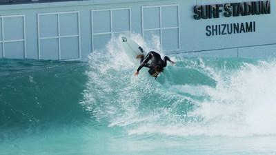 Pro surfer Taichi Wakita on the first waves at PerfectSwell® Shizunami