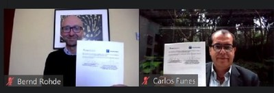 Bernd Rohde, Director General de Hannover Fairs México / Carlos Funes Presidente de la Cámara Nacional de la Industria Electrónica, de Telecomunicaciones y Tecnologías de la Información (CANIETI)